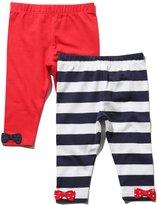 M&Co Stripe and plain bow hem leggings two pack