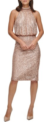 Eliza J Sequin Mock Neck Cocktail Dress