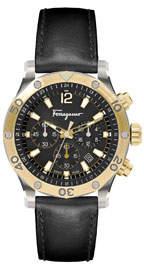 Salvatore Ferragamo Men's 44mm Chronograph Watch w/ Leather Strap, Gold/Black