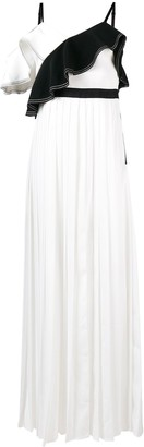 Self-Portrait Ruffled Trim Maxi Dress