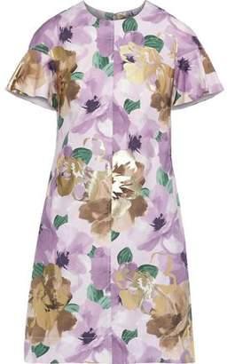 Lela Rose Metallic Floral-print Cotton-blend Poplin Mini Dress