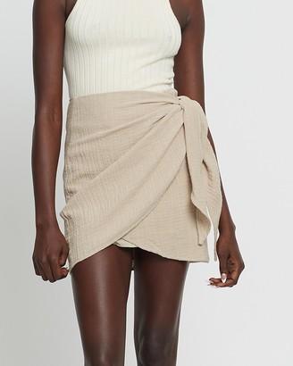 ST MRLO - Women's Neutrals Mini skirts - River Skirt - Size 6 at The Iconic