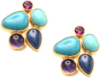 Dina Mackney Multi-Stone Cluster Clip Earrings