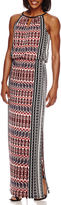 London Times London Style Collection Sleeveless Keyhole Side-Border Printed Maxi Dress