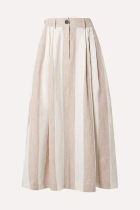 Mara Hoffman Net Sustain Tulay Pleated Striped Organic Linen Midi Skirt - Off-white