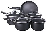 Anika 5-Piece Non Stick Carbon Steel Saucepan Set, Black