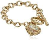 1928 Jewelry Gold-Tone Pendant Made with A Heart-Shaped Swarovski Crystal Pendant Bracelet