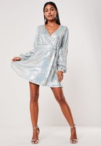 Missguided Silver Sequin Wrap Balloon Sleeve Mini Dress