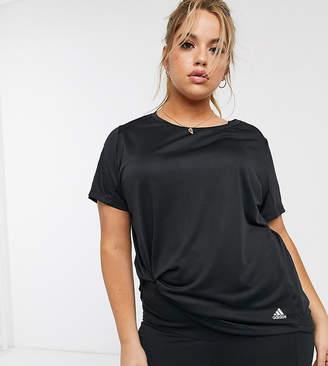 adidas Plus Running 3 stripe t-shirt in black
