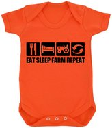 1StopShops Funny Eat Sleep Farm Repeat Design Baby Bodysuit with Black Print