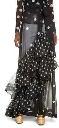 Dries Van Noten Sikar Dot Ruffle Sheer Maxi Skirt