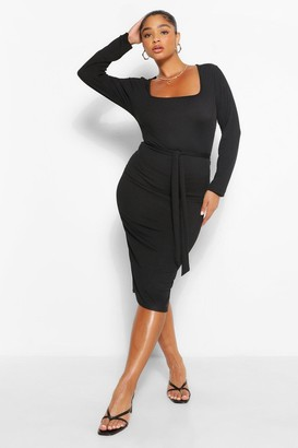 boohoo Plus Rib Square Neck Long Sleeve Midi Dress