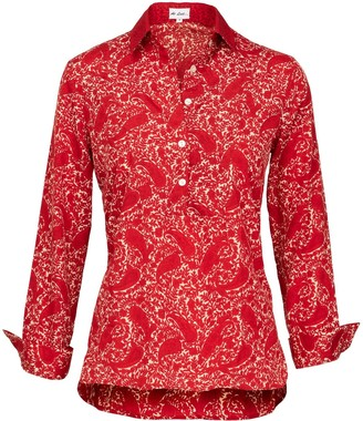 At Last... Soho Shirt-Red Paisley With Red Collar & Cuff