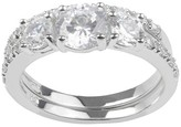 Journee Collection 5/8 CT. T.W. Round-Cut CZ Pave Set Wedding Ring Set in Sterling Silver