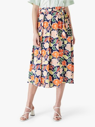 Finery Erin Satin Floral Midi Skirt, Multi