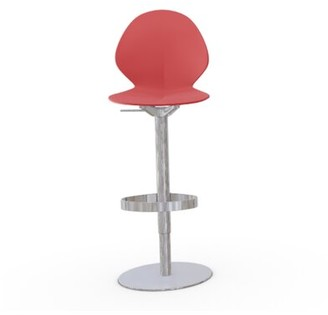 Calligaris Basil Swivel Adjustable Height Bar Stool Frame Color: Chromed, Upholstery: Red