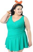 Deercon Women's Swimwear Swimsuit Beach Swimdress Plus Size(Lake green 4XL)