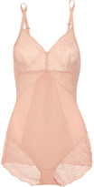 Spanx Spotlight Lace-paneled Stretch-mesh Bodysuit - Blush
