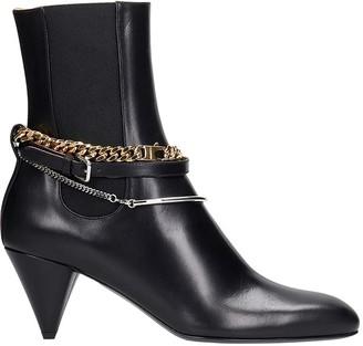 Jil Sander High Heels Ankle Boots In Black Leather