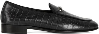 Giuseppe Zanotti Crocodile Effect Leather Loafers