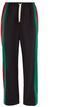 Gucci Web-stripe Cotton Track Pants - Mens - Black Multi