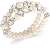 Carolee Silver-Tone Imitation Pearl and Crystal Double-Row Stretch Bracelet