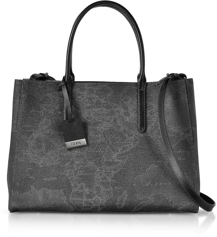 Alviero Martini Medium Geo Black Coated Canvas Tote