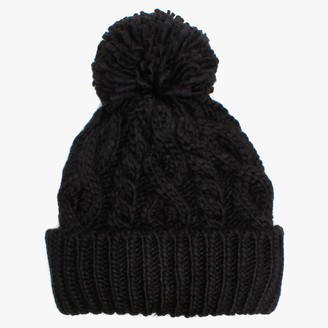 Little Red Black Marino Pom Pom Hat