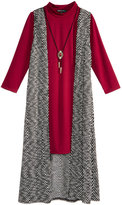 Sequin Hearts 2-Pc. Dress & Duster Vest Set With Coordinating Necklace, Big Girls (7-16)