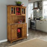 Home Styles Large Serving Buffet with Hutch - Warm Oak/Stainless Steel