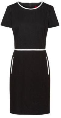 HUGO Short-sleeved shift dress in a stretch-cotton blend