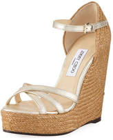 Jimmy Choo Delaney Metallic Leather Wedge Espadrille Sandal