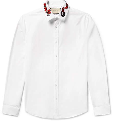 Gucci Duke Snake-Appliquéd Cotton-Poplin Shirt
