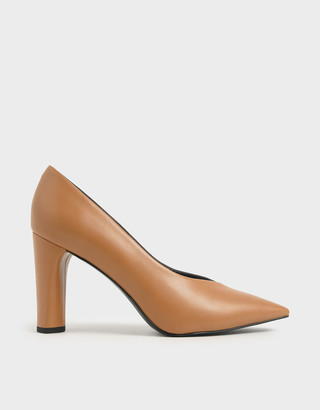 Charles & Keith Two-Tone Textured Cylindrical Heel Pumps