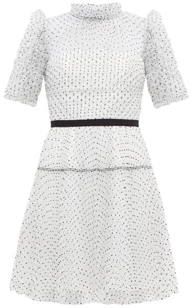 Self-Portrait Ruffled Dotted-tulle Mini Dress - White