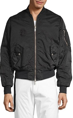 Unravel Project Distressed Full-Zip Bomber Jacket