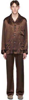 Brioni Brown Silk Embroidered Pocket Pyjama Set