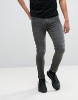 Asos Super Skinny Jeans With Biker Details In Washed Black