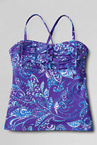 Lands' End Girls Ruffle Bodice Tankini Top-Espresso