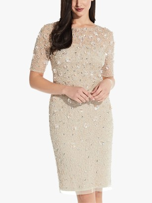 Adrianna Papell Beaded Cocktail Knee Length Dress, Biscotti