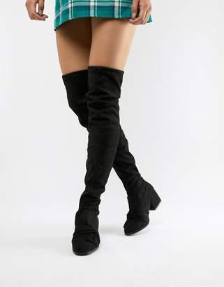 London Rebel Over Knee Boots-Black