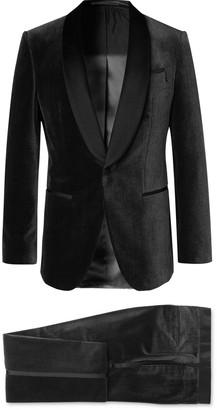HUGO BOSS Black Henry Glow Slim-Fit Satin-Trimmed Cotton-Corduroy Tuxedo