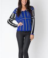 Yuka Paris Olympian Blue Abstract V-Neck Sweater
