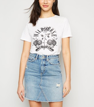 New Look Ripped Denim Mom Skirt