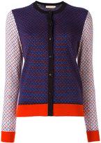 Tory Burch geometric pattern cardigan - women - Merino - L