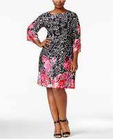 NY Collection Plus Size Printed Boat-Neck Shift Dress