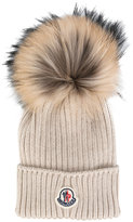 Moncler classic knitted beanie hat - kids - Racoon Fur/Virgin Wool - 50 cm