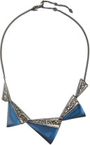 Alexis Bittar Crystal-Encrusted Graduated Origami Bib Necklace, Blue