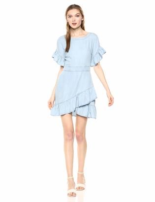 BB Dakota Womens Indigo Dreams Tencel Ruffle Dress