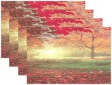 "WOZO Mystery Autumn Landscape Placemat Table Mat, Yellow Leaf 12"" x 18"" Polyester Table Place Mat for Kitchen Dining Room Set of 6"